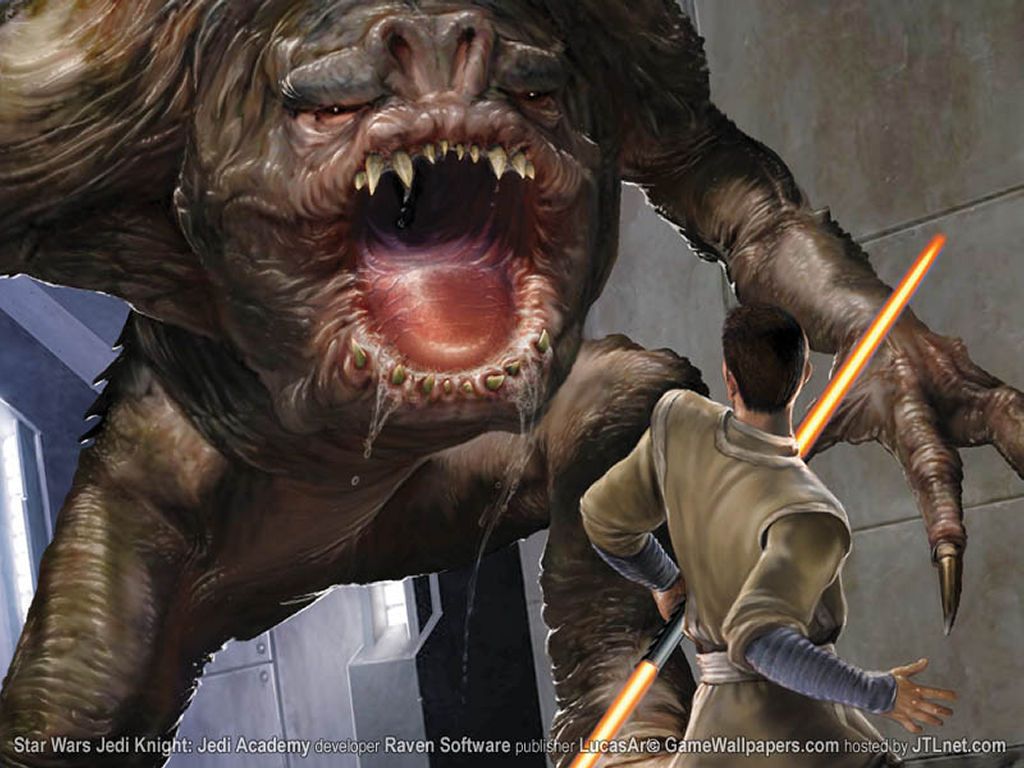 Star Wars Wallpaper: Jedi Academy - Jedi vs Rancor