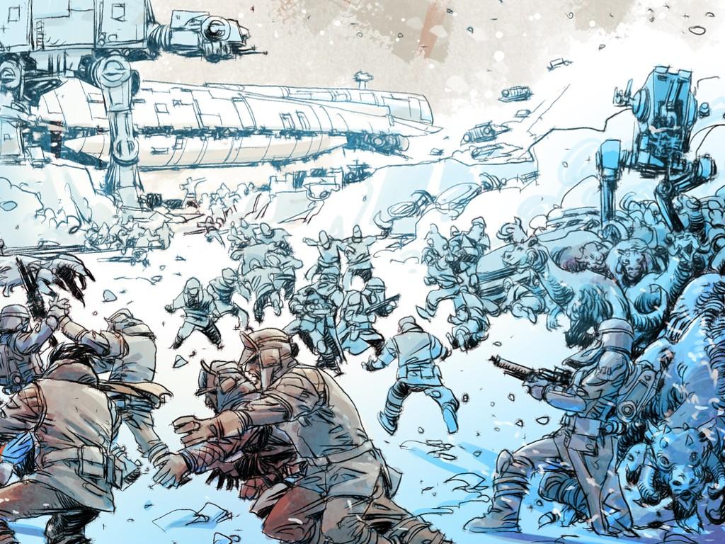 Star Wars Wallpaper: Mario Alberti - Assault on Hoth