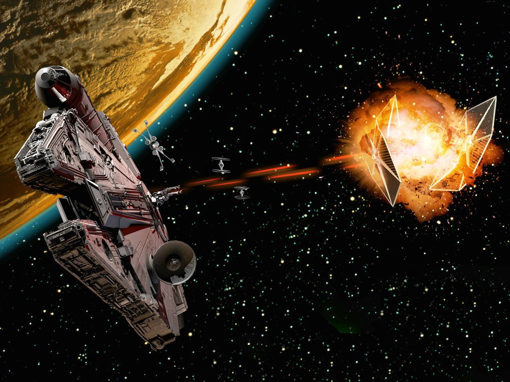 Star Wars Wallpaper: Millenium Falcon - Destroying Tie Fighters