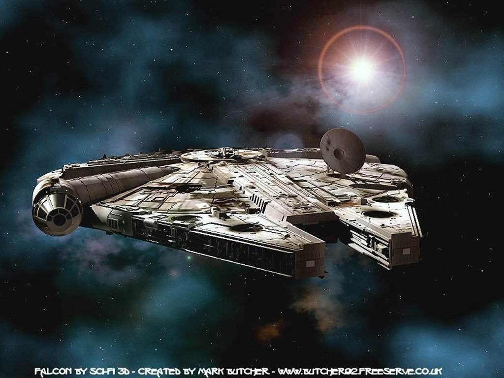 Star Wars Wallpaper: Millenium Falcon Flying Again