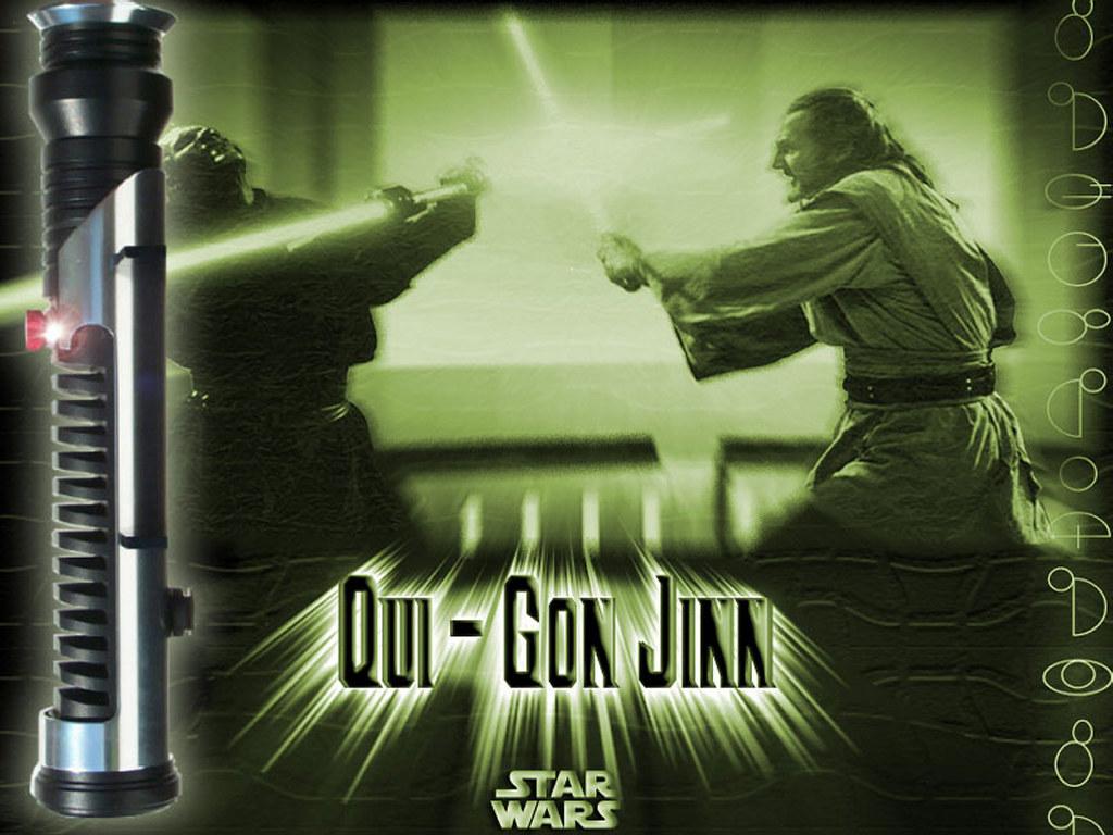 Star Wars Wallpaper: Qui-Gon Jinn - Saber Duel