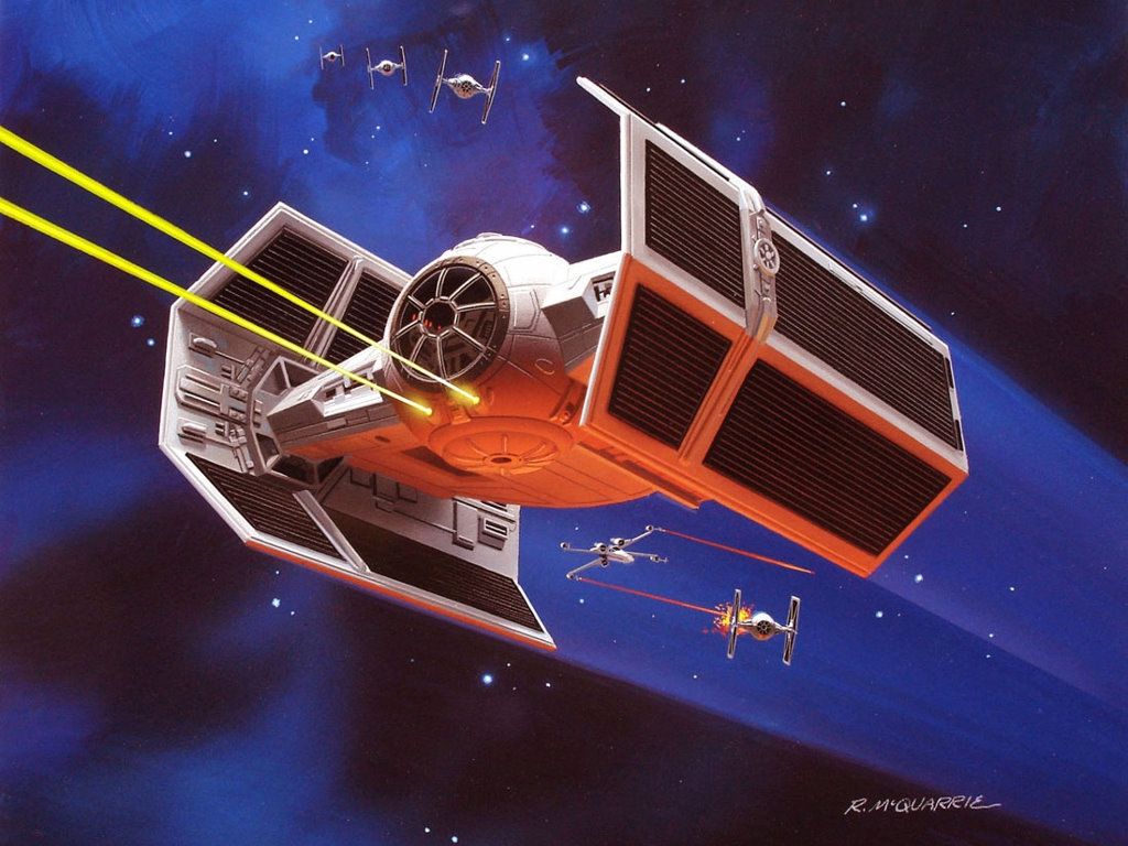 My Free Wallpapers Star Wars Wallpaper Ralph Mcquarrie Darth Vader Tie Fighter