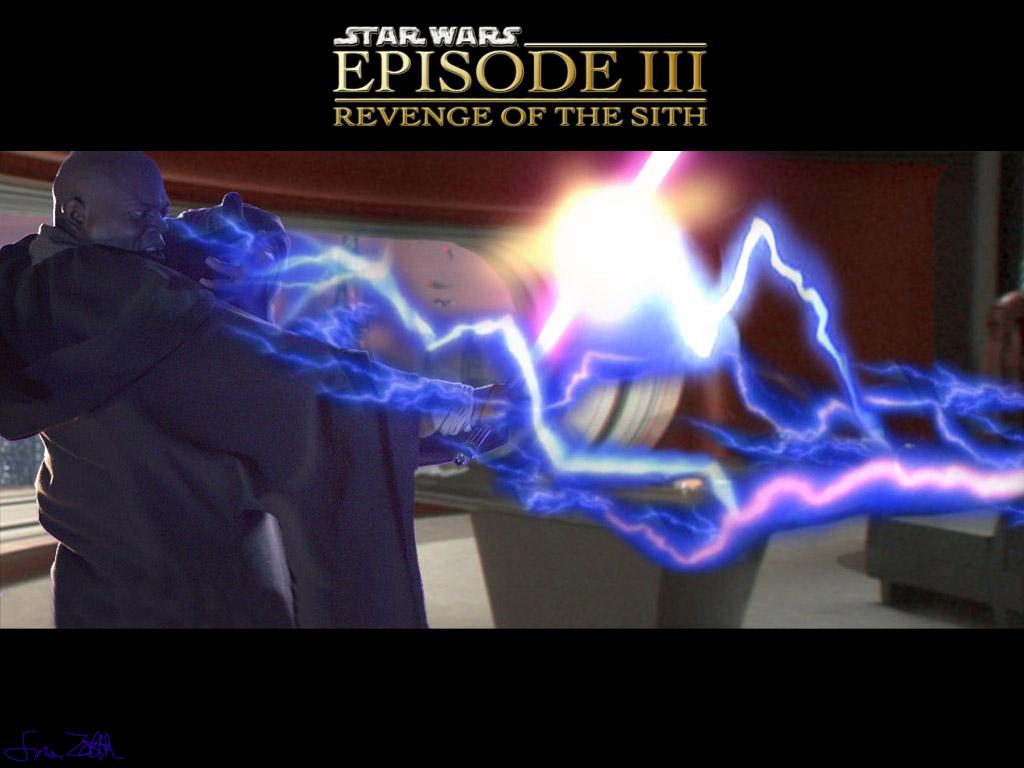 Star Wars Wallpaper: Revenge of the Sith - Mace Windu vs Darth Sidius