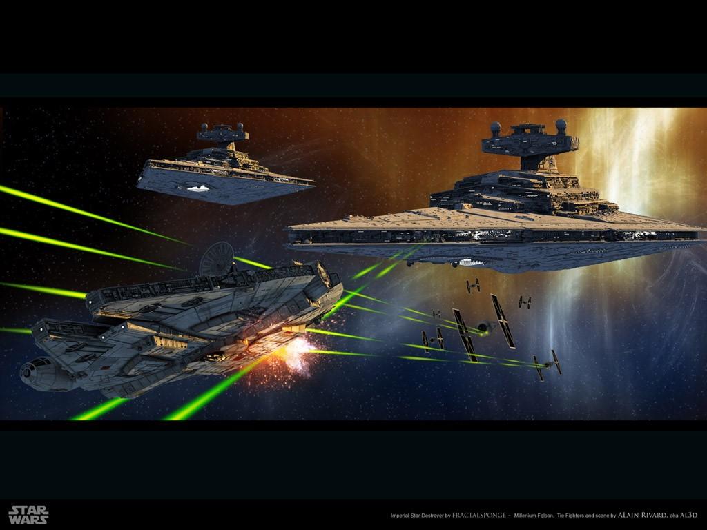 Star Wars Wallpaper: Millenium Falcon - Under Heavy Fire