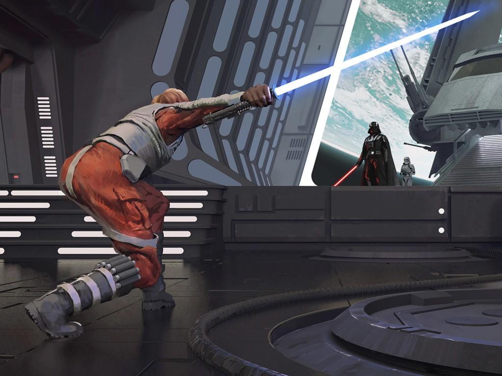 Star Wars Wallpaper: Darth Vader and Luke Skywalker (by Fan Gao)