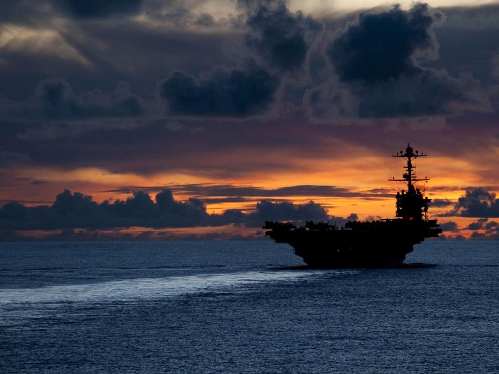 Vehicles Wallpaper: Aircraft Carrier - Sunset