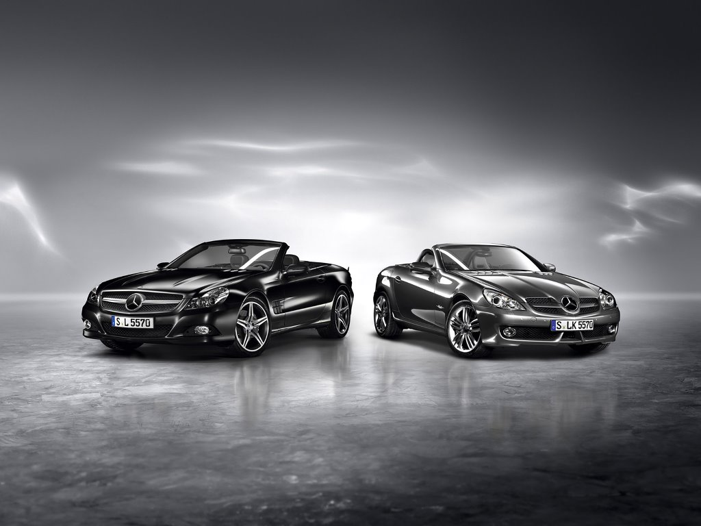 Vehicles Wallpaper: Mercedes Benz SL Night Edition and SLK Grand Edition